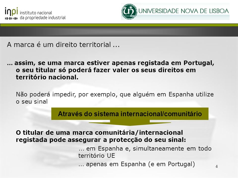 Através do sistema internacional/comunitário
