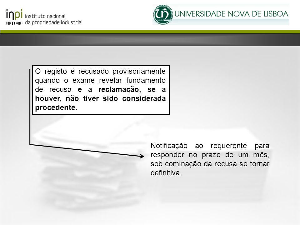 O registo é recusado provisoriamente quando o exame revelar fundamento de recusa e a reclamação, se a houver, não tiver sido considerada procedente.