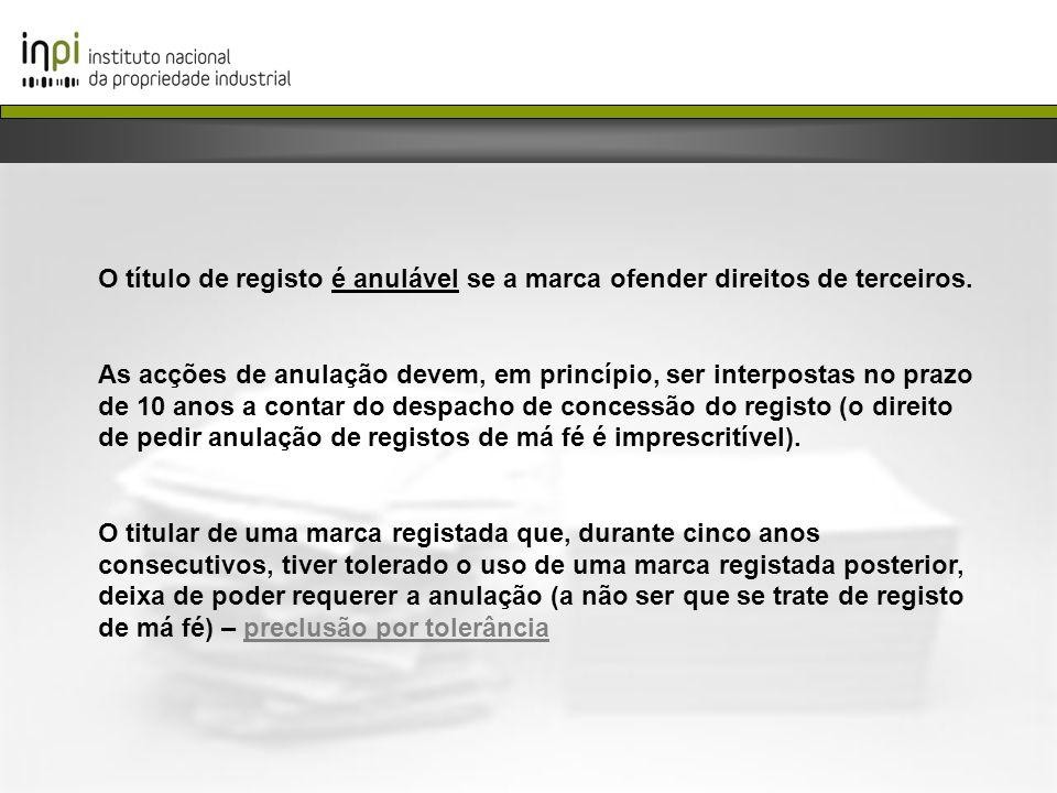 O título de registo é anulável se a marca ofender direitos de terceiros.
