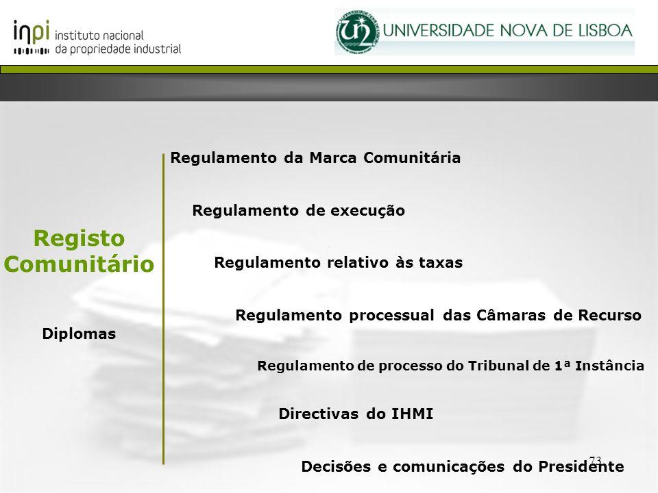 Registo Comunitário Regulamento da Marca Comunitária Diplomas