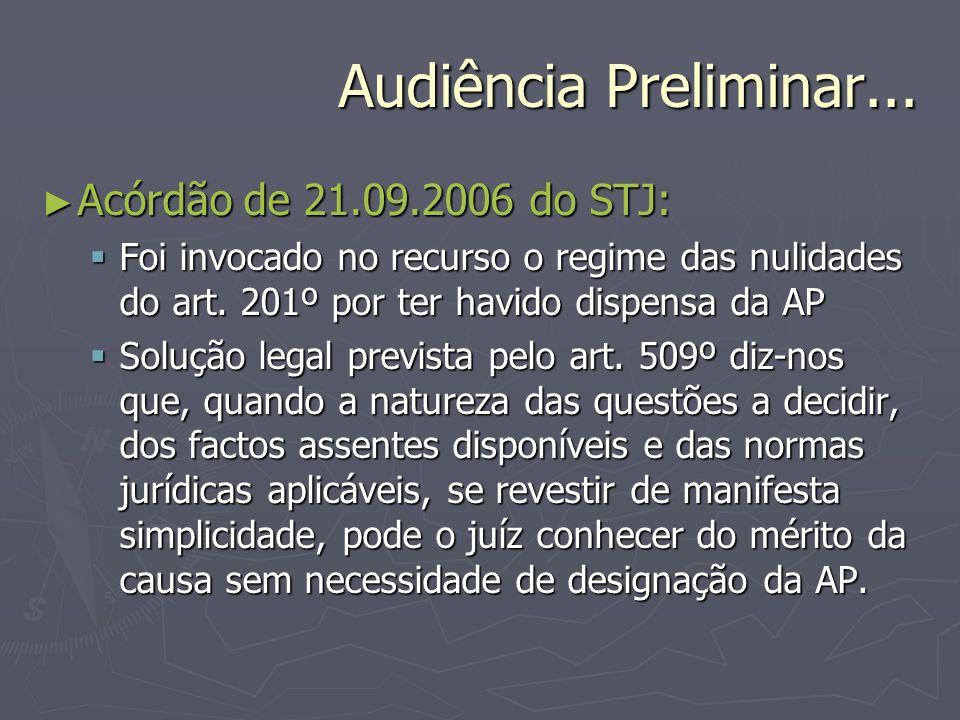 Audiência Preliminar... Acórdão de 21.09.2006 do STJ: