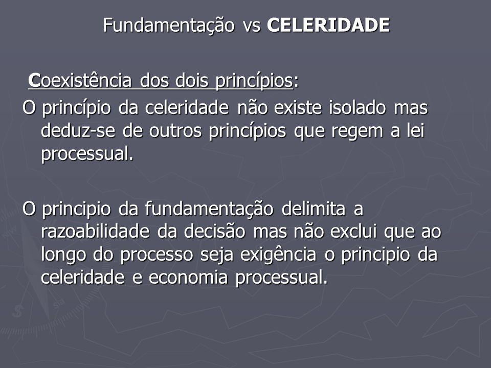 Fundamentação vs CELERIDADE