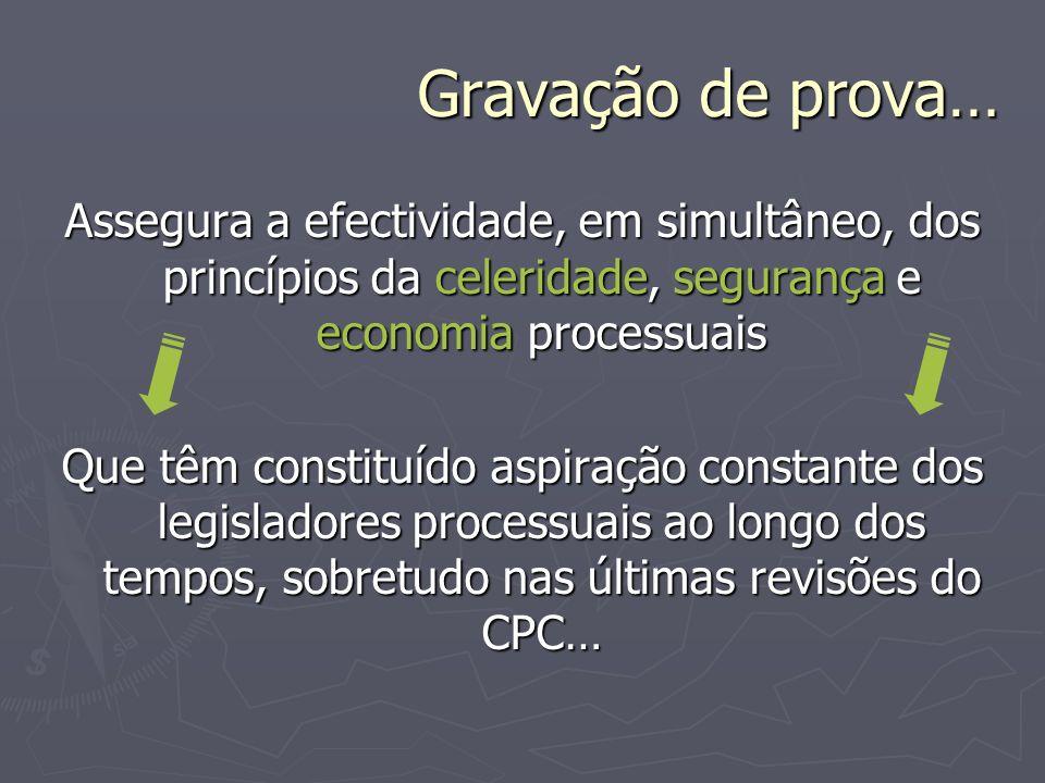 Gravação de prova… Assegura a efectividade, em simultâneo, dos princípios da celeridade, segurança e economia processuais.