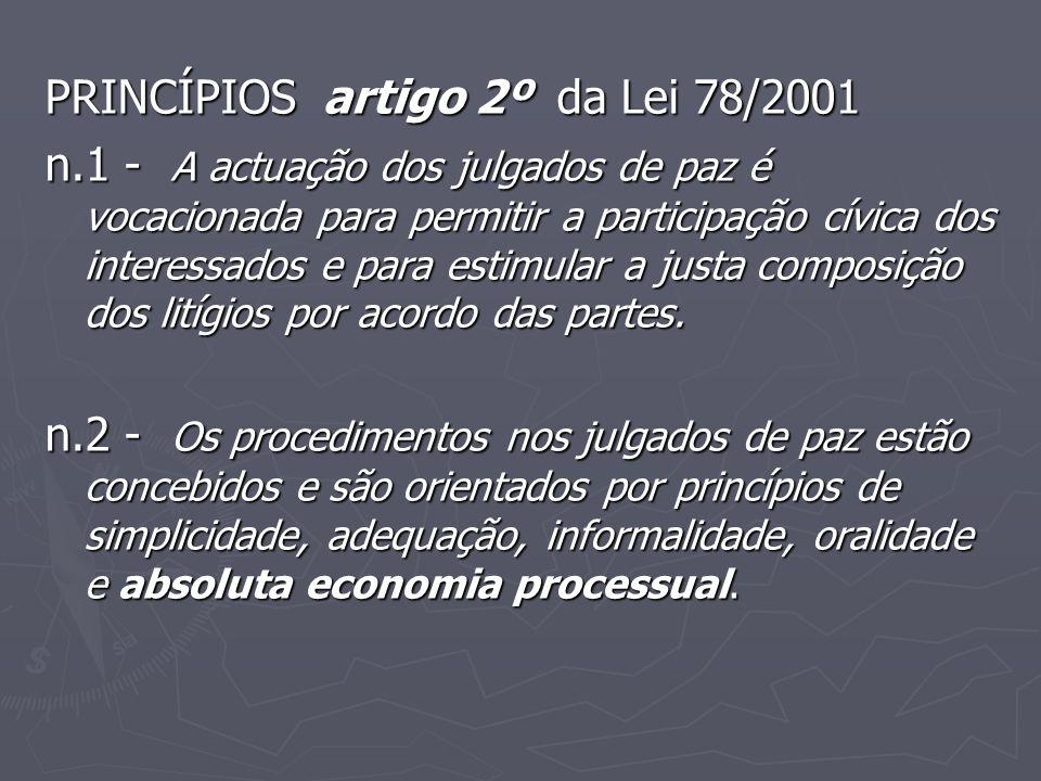 PRINCÍPIOS artigo 2º da Lei 78/2001