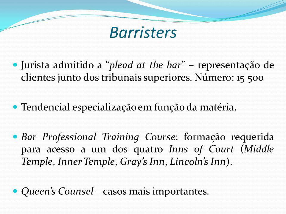 Barristers Jurista admitido a plead at the bar – representação de clientes junto dos tribunais superiores. Número: 15 500.