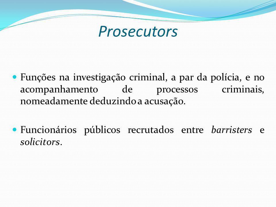 Prosecutors Funções na investigação criminal, a par da polícia, e no acompanhamento de processos criminais, nomeadamente deduzindo a acusação.