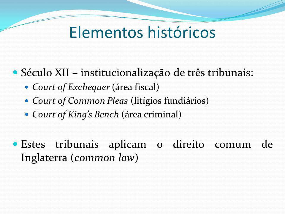 Elementos históricosSéculo XII – institucionalização de três tribunais: Court of Exchequer (área fiscal)