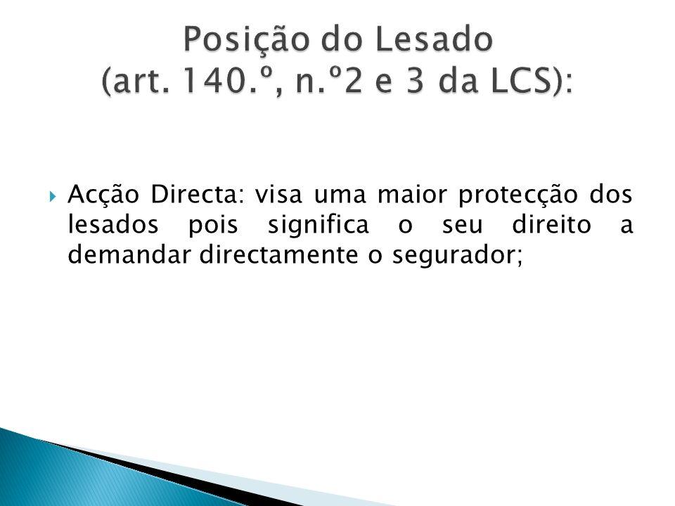 Posição do Lesado (art. 140.º, n.º2 e 3 da LCS):