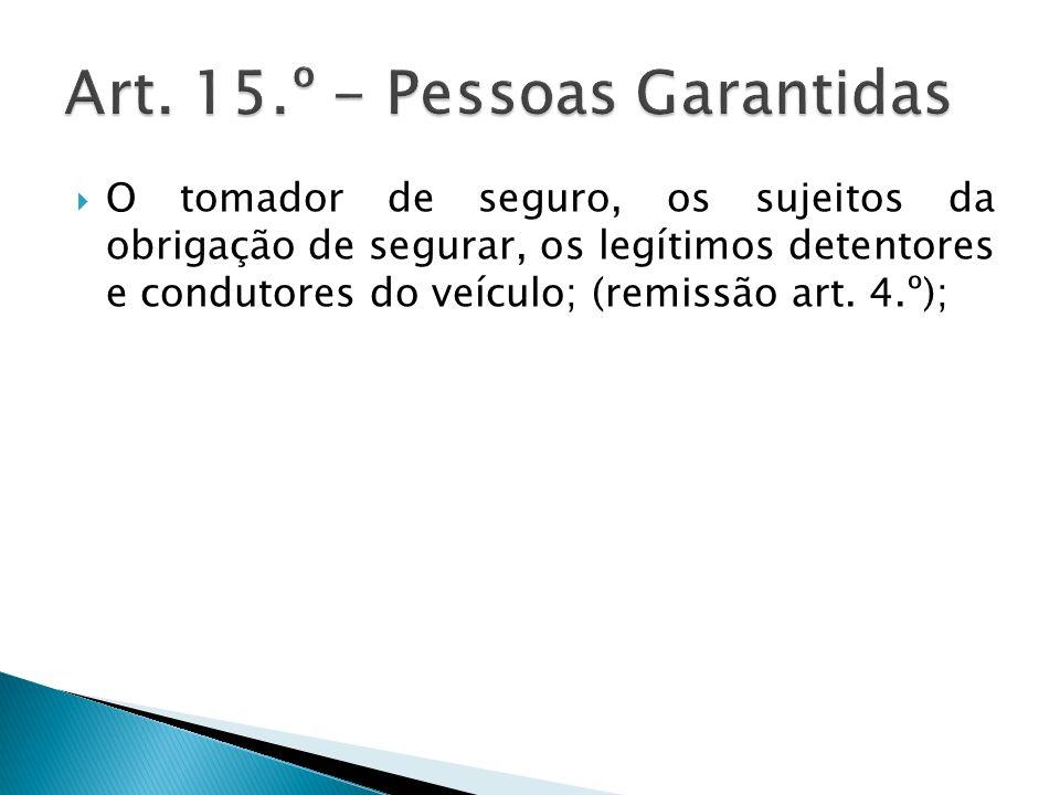 Art. 15.º - Pessoas Garantidas