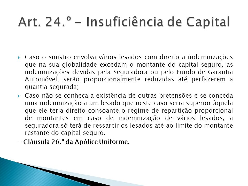 Art. 24.º - Insuficiência de Capital