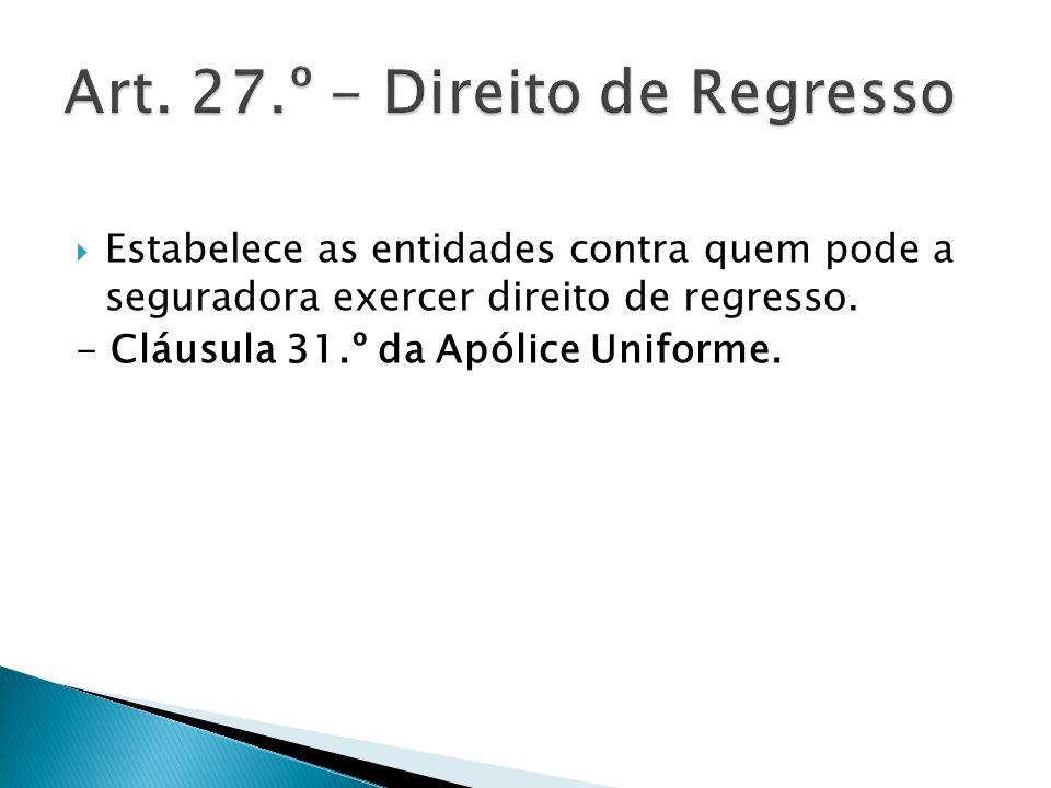 Art. 27.º - Direito de Regresso