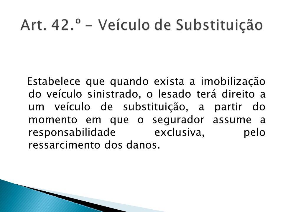 Art. 42.º - Veículo de Substituição