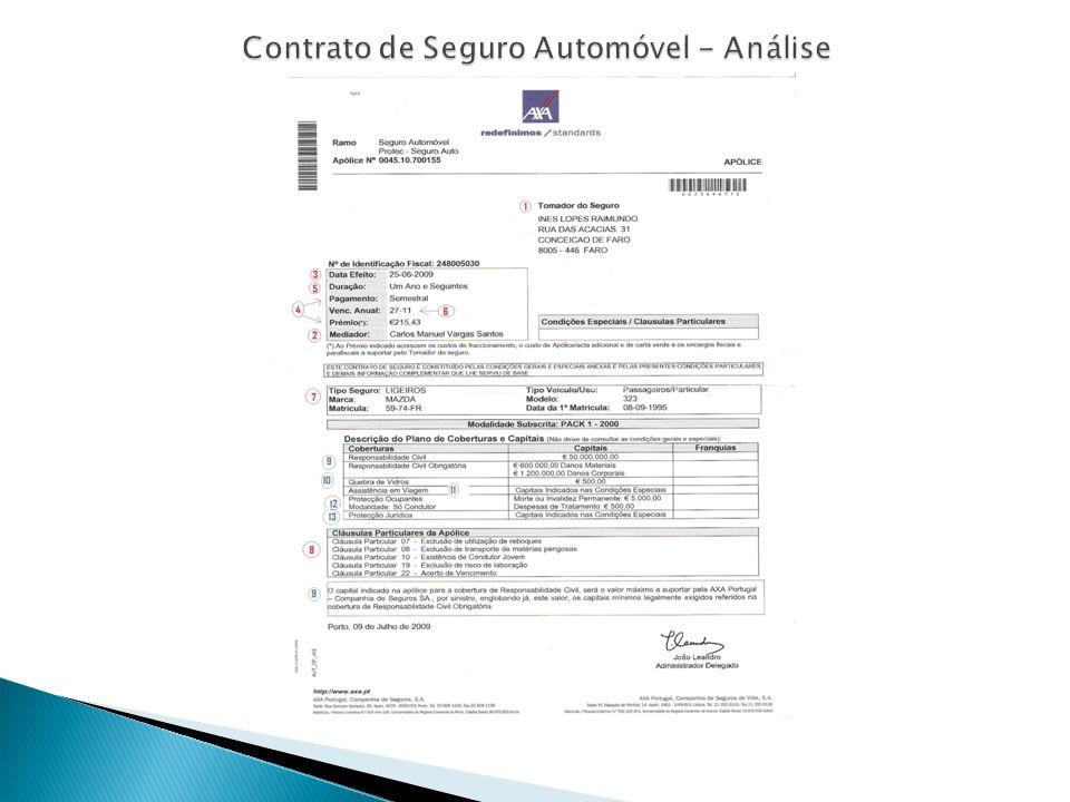 Contrato de Seguro Automóvel - Análise