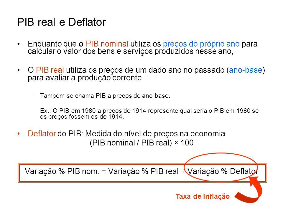 PIB real e Deflator Enquanto que o PIB nominal utiliza os preços do próprio ano para calcular o valor dos bens e serviços produzidos nesse ano,