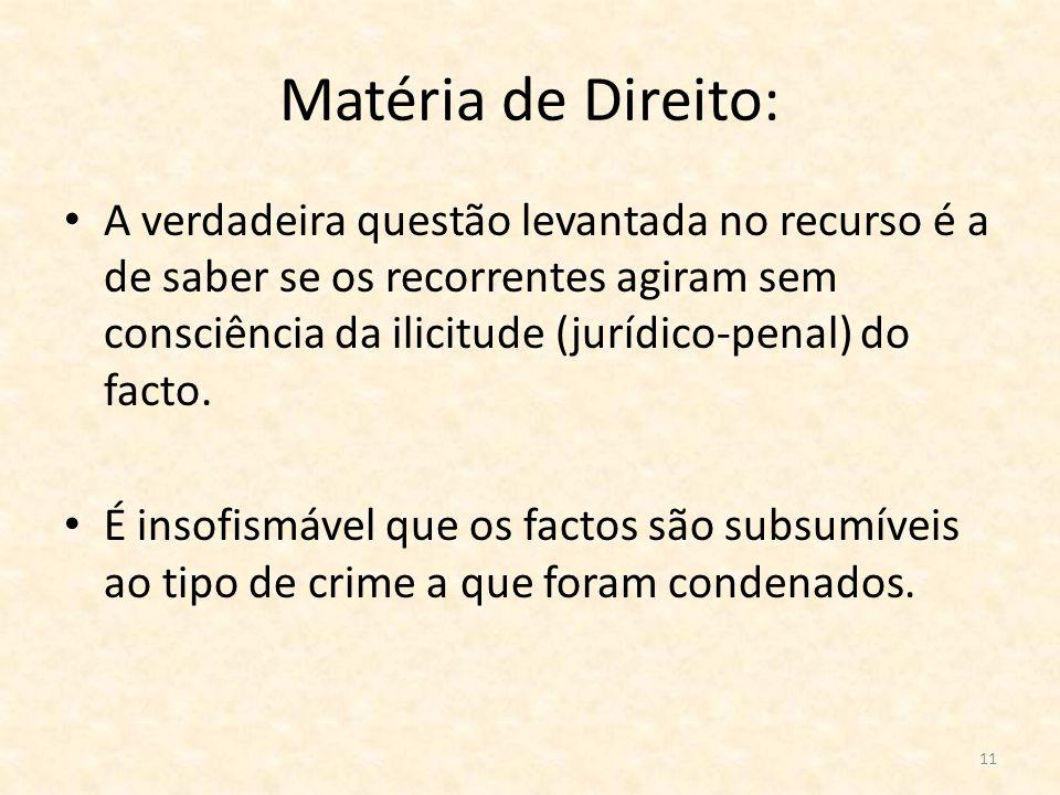 Matéria de Direito: