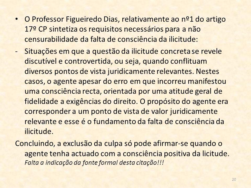 O Professor Figueiredo Dias, relativamente ao nº1 do artigo 17º CP sintetiza os requisitos necessários para a não censurabilidade da falta de consciência da ilicitude: