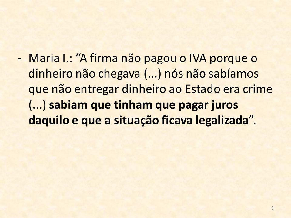 Maria I. : A firma não pagou o IVA porque o dinheiro não chegava (