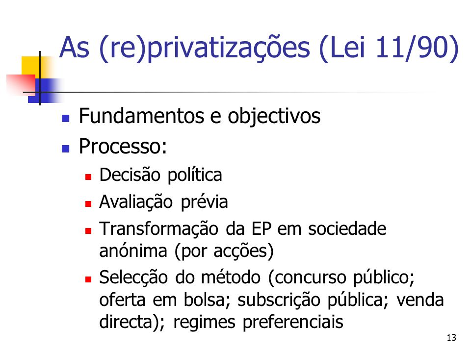 As (re)privatizações (Lei 11/90)‏