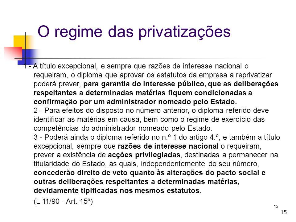 O regime das privatizações