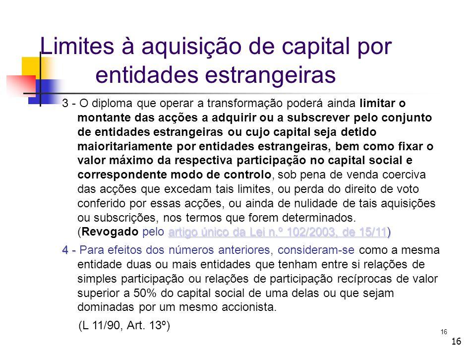 Limites à aquisição de capital por entidades estrangeiras