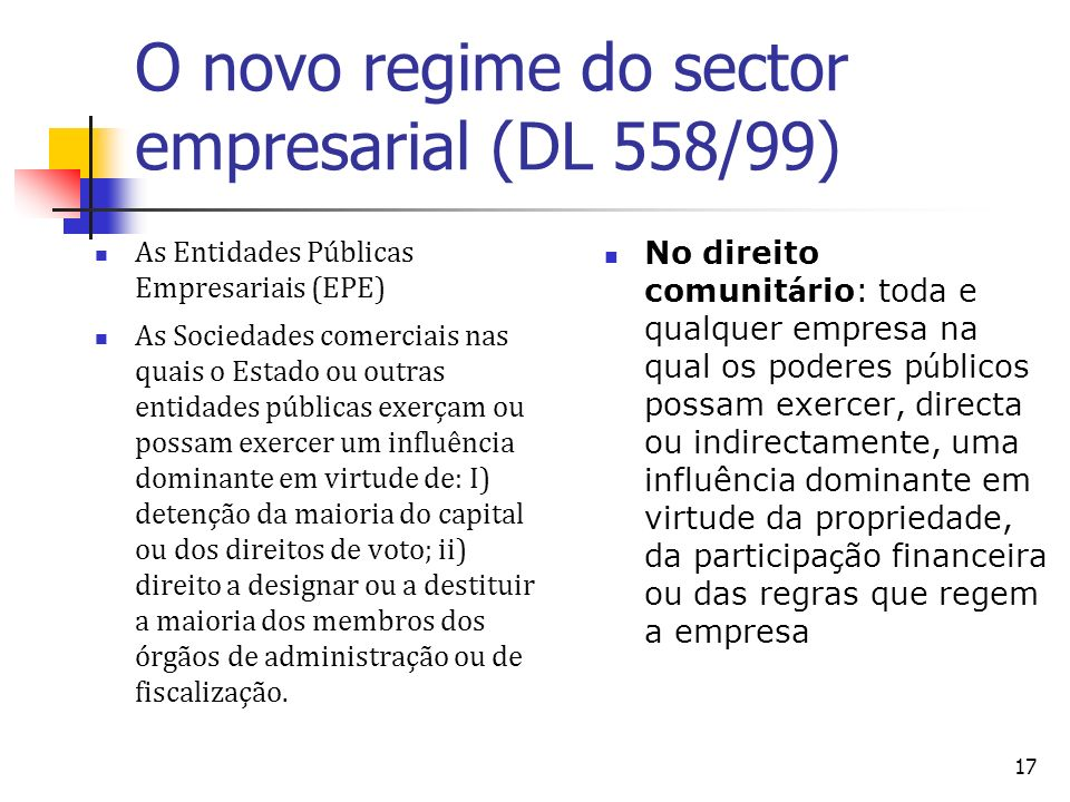 O novo regime do sector empresarial (DL 558/99)‏