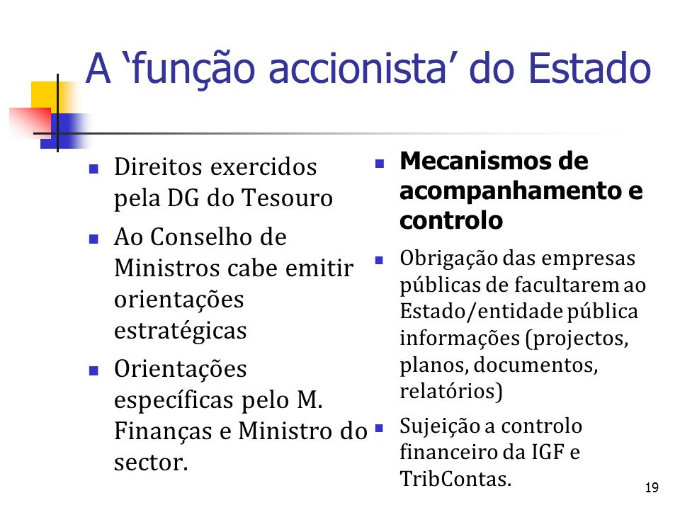 A 'função accionista' do Estado
