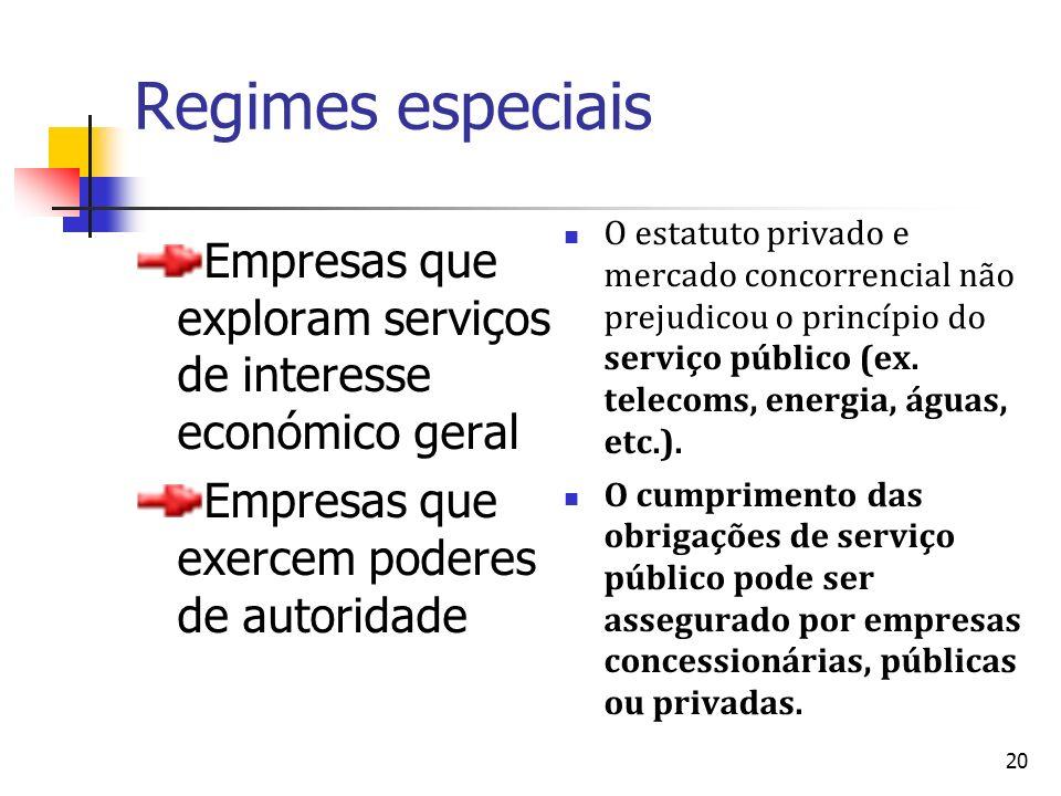 Regimes especiais O estatuto privado e mercado concorrencial não prejudicou o princípio do serviço público (ex. telecoms, energia, águas, etc.).