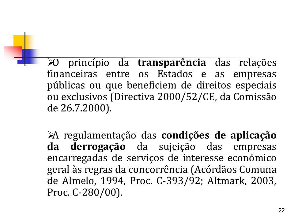 O princípio da transparência das relações financeiras entre os Estados e as empresas públicas ou que beneficiem de direitos especiais ou exclusivos (Directiva 2000/52/CE, da Comissão de 26.7.2000).