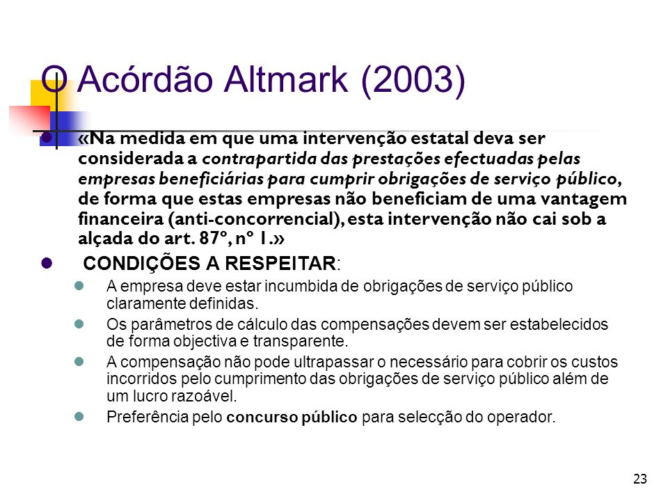 O Acórdão Altmark (2003)