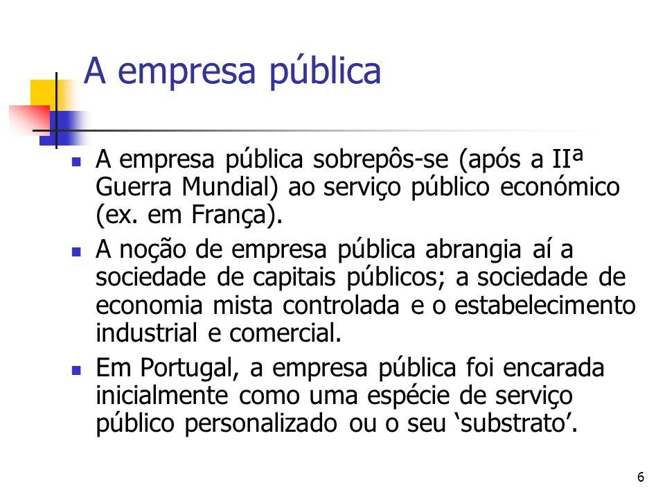 A empresa pública A empresa pública sobrepôs-se (após a IIª Guerra Mundial) ao serviço público económico (ex. em França).