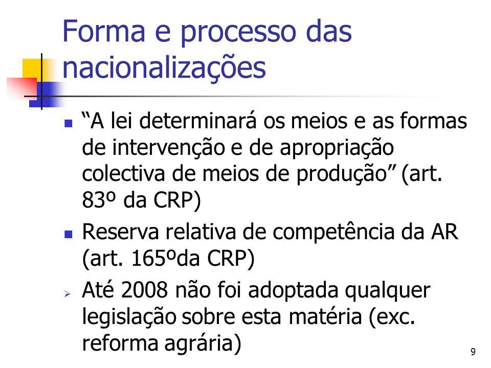 Forma e processo das nacionalizações
