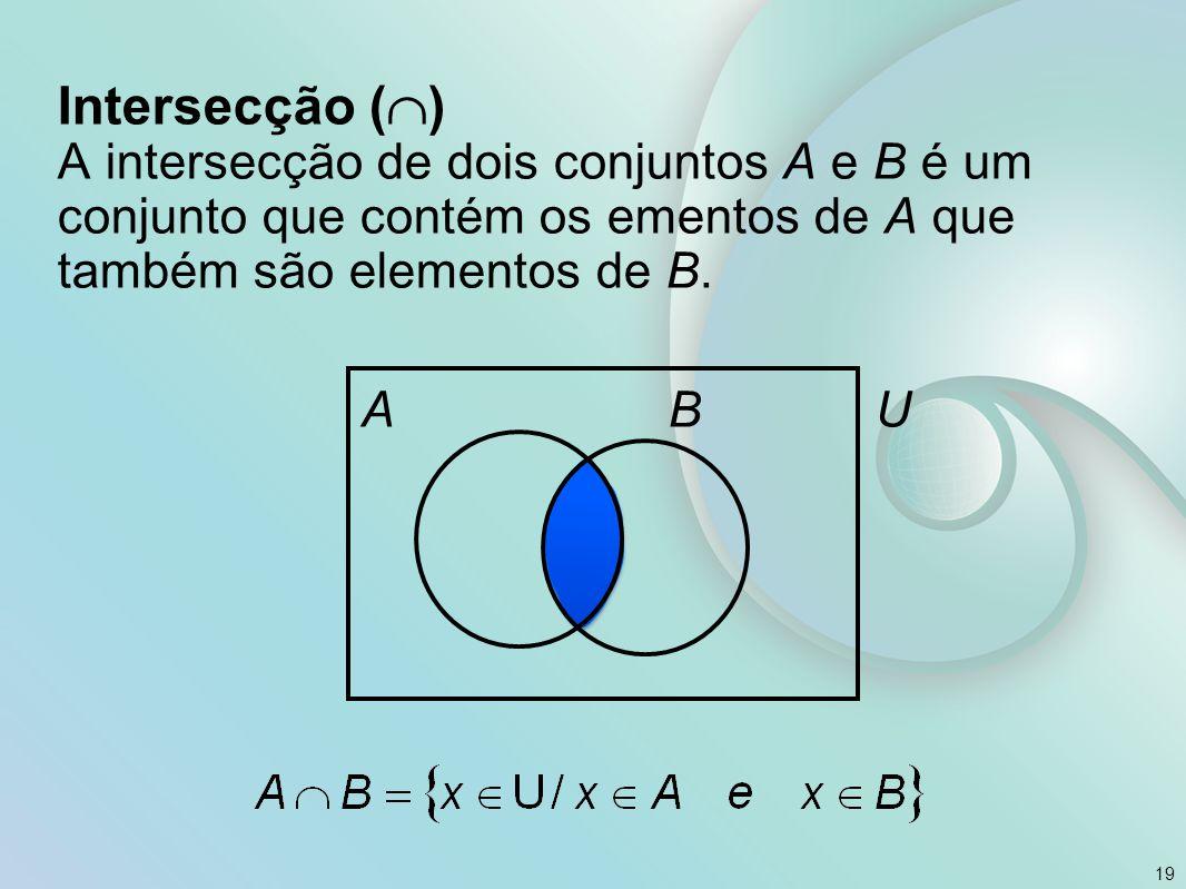 Intersecção () A intersecção de dois conjuntos A e B é um conjunto que contém os ementos de A que também são elementos de B.