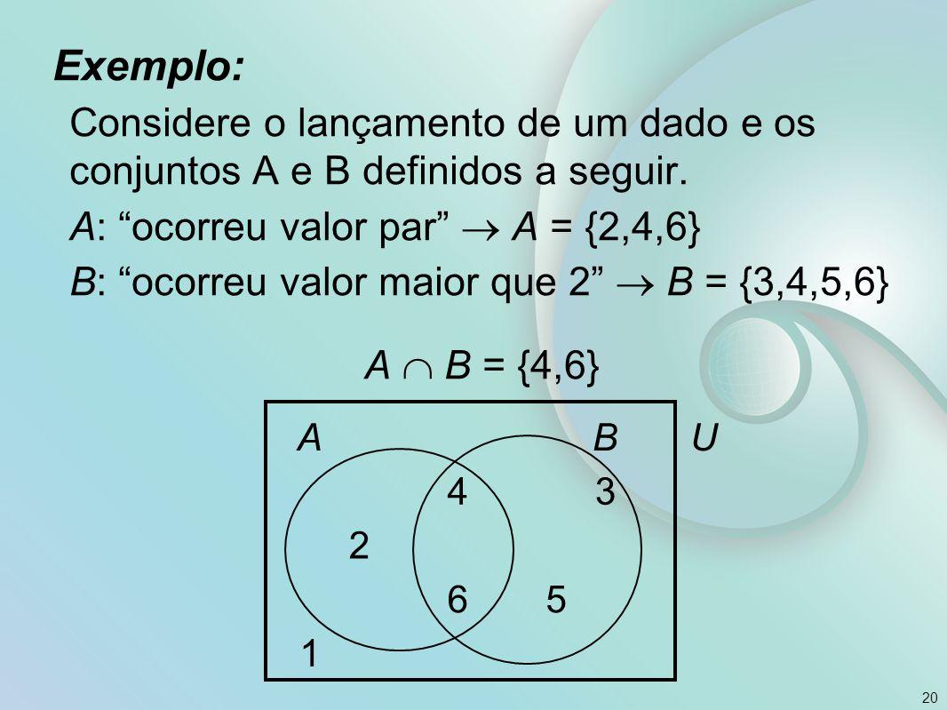 Exemplo: Considere o lançamento de um dado e os conjuntos A e B definidos a seguir. A: ocorreu valor par  A = {2,4,6}