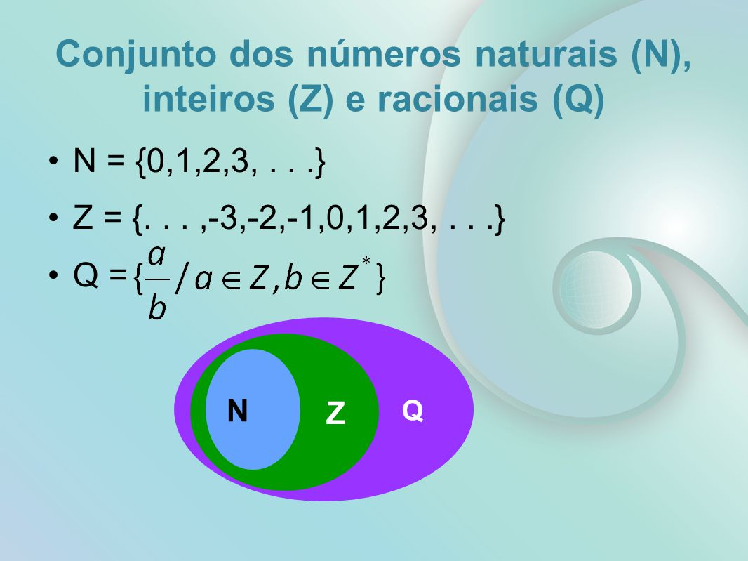 Conjunto dos números naturais (N), inteiros (Z) e racionais (Q)