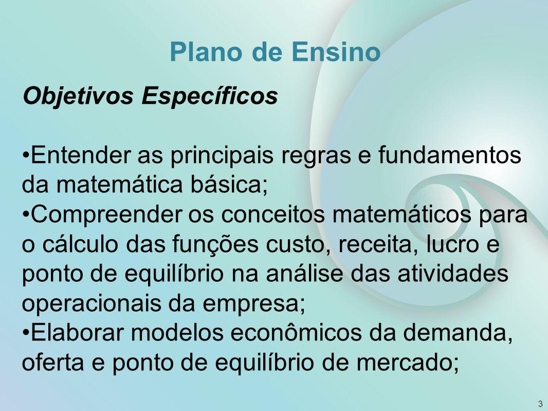 Plano de Ensino Objetivos Específicos