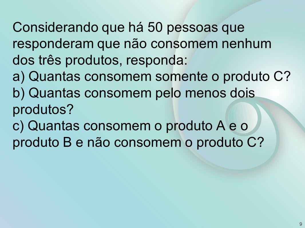 Considerando que há 50 pessoas que responderam que não consomem nenhum dos três produtos, responda: a) Quantas consomem somente o produto C.