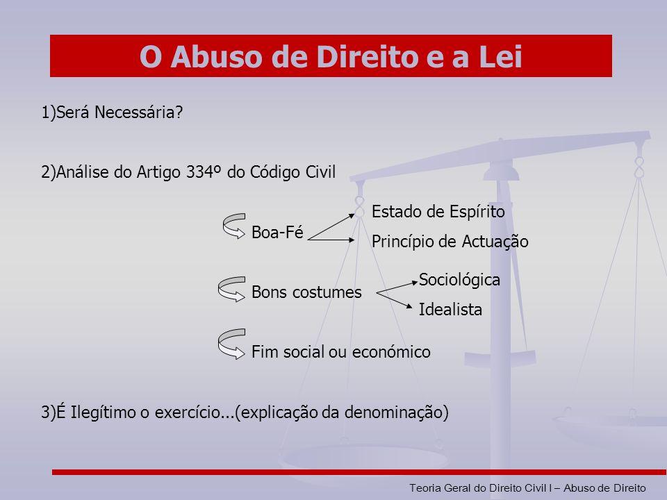 O Abuso de Direito e a Lei
