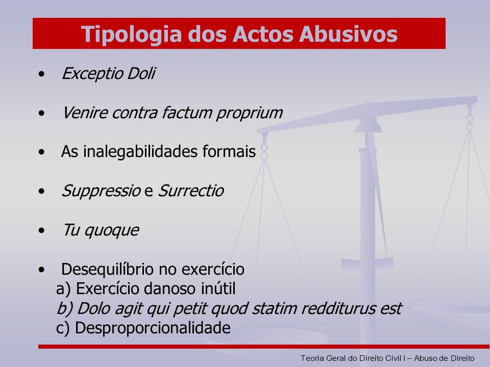 Tipologia dos Actos Abusivos