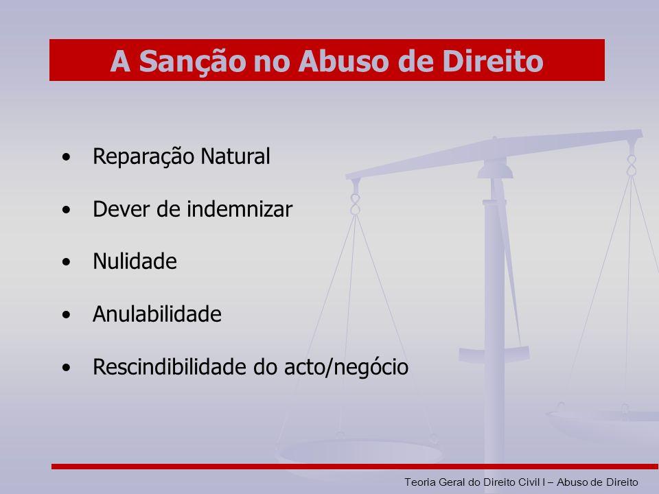 A Sanção no Abuso de Direito