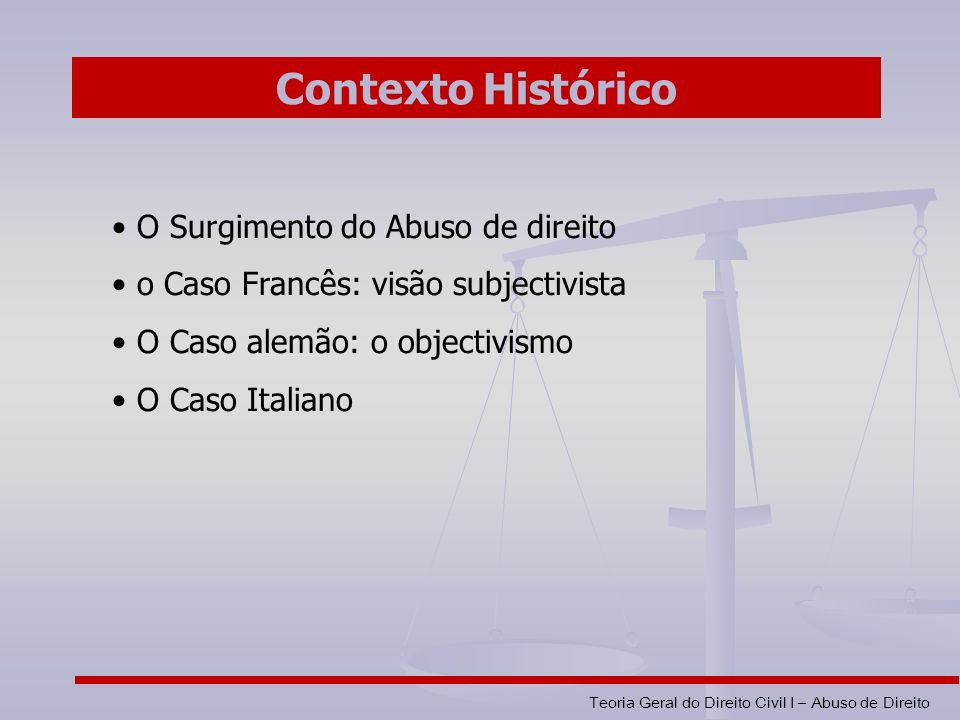 Contexto Histórico O Surgimento do Abuso de direito