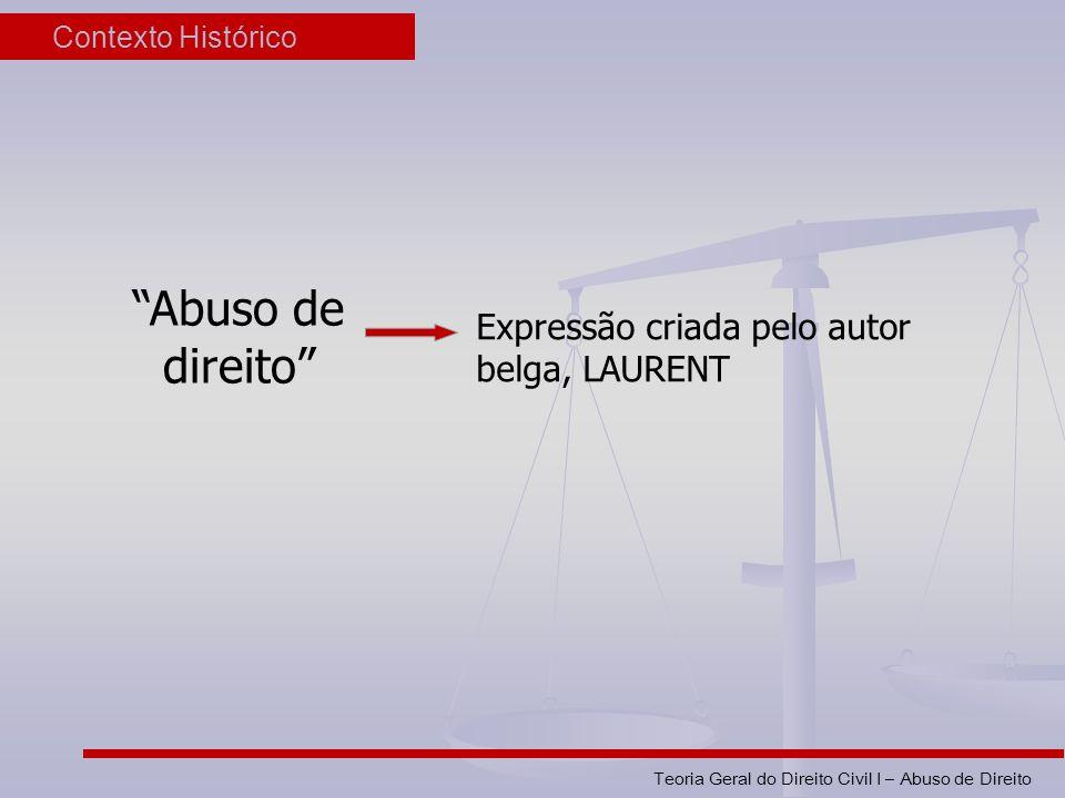 Abuso de direito Expressão criada pelo autor belga, LAURENT