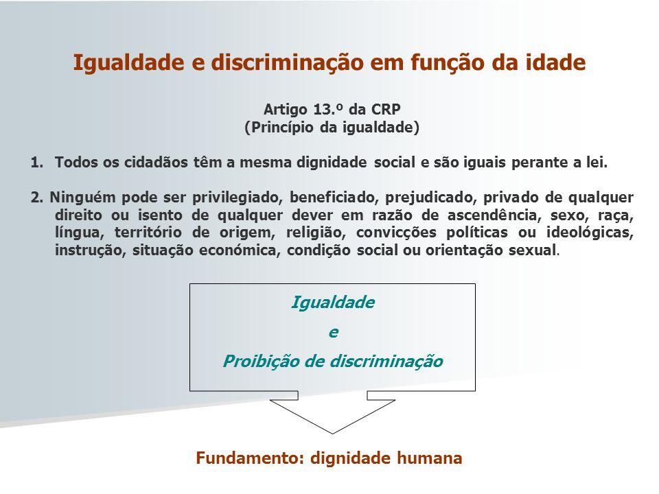 Igualdade e discriminação em função da idade
