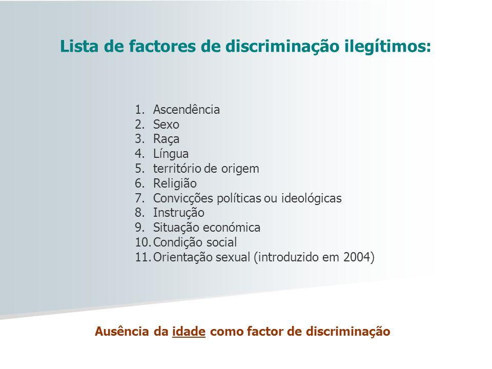 Lista de factores de discriminação ilegítimos: