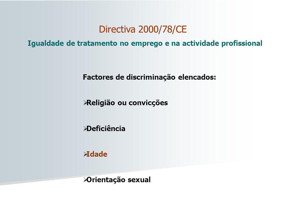 Igualdade de tratamento no emprego e na actividade profissional