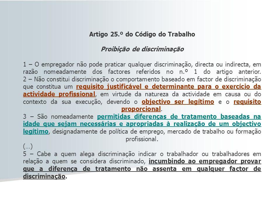 Artigo 25.º do Código do Trabalho Proibição de discriminação