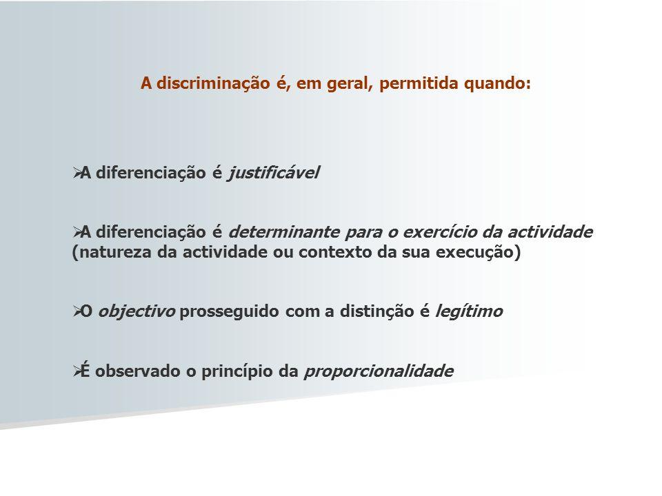 A discriminação é, em geral, permitida quando: