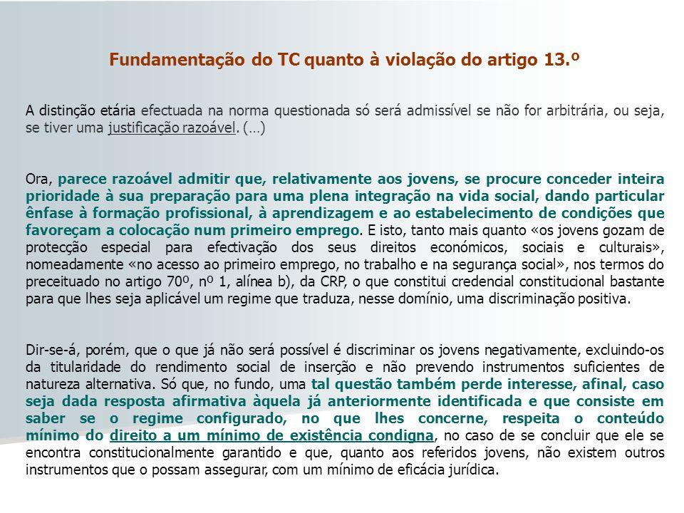 Fundamentação do TC quanto à violação do artigo 13.º
