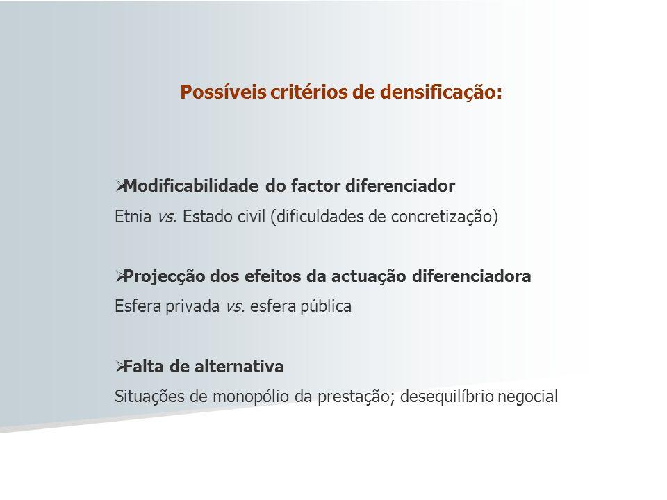 Possíveis critérios de densificação: