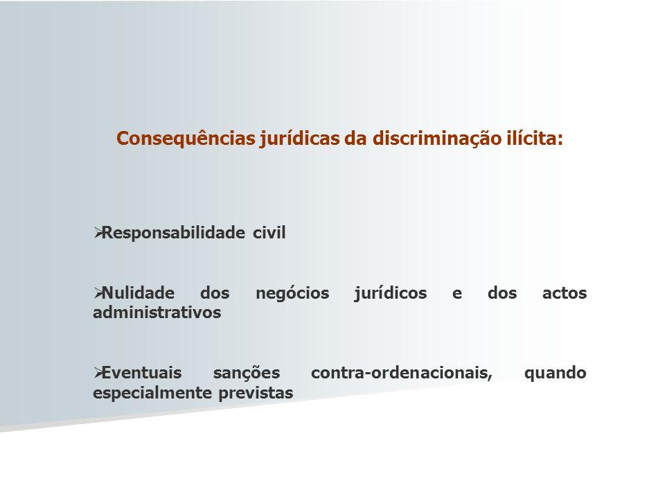 Consequências jurídicas da discriminação ilícita: