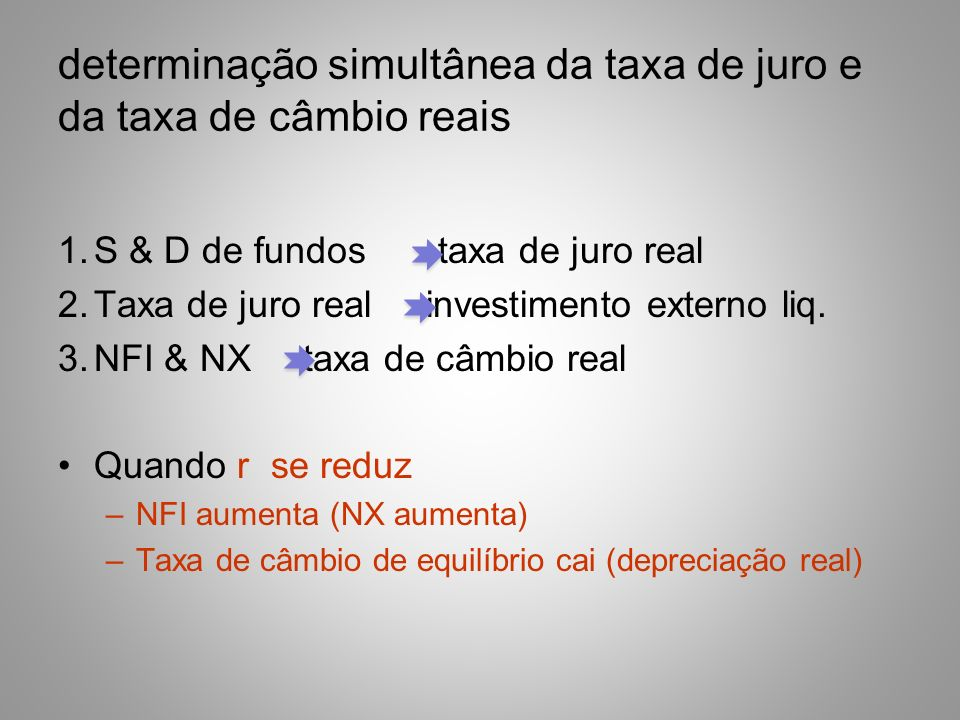 determinação simultânea da taxa de juro e da taxa de câmbio reais